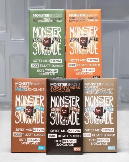 Stevia Sjokolade - SMAKSPAKKE FEM SMAKER 5x85g