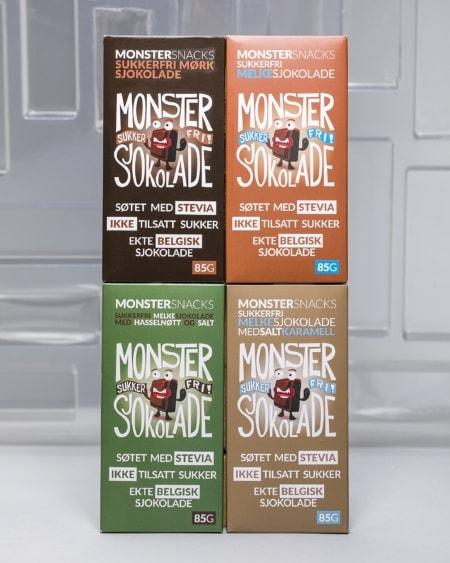 Stevia Sjokolade - SMAKSPAKKE FIRE SMAKER 4x85g