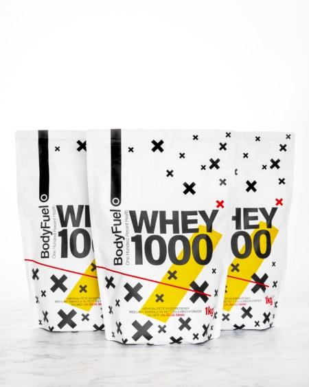 BodyFuel 3kg Whey 1000 - TREPAKNING! Mix & Match smaker!