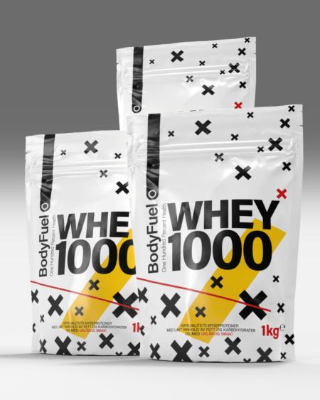 3kg Whey 1000 - TREPAKNING! Mix & Match smaker!