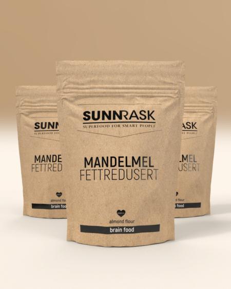 3 x SunnRask – Mandelmel Fettredusert 500g
