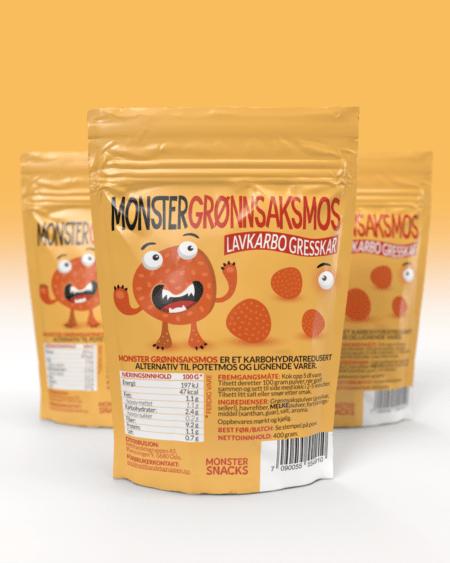 3 x Monster Lavkarbo Grønnsaksmos – Gresskar 1200g