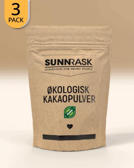 3x SunnRask Økologisk Kakaopulver 400g
